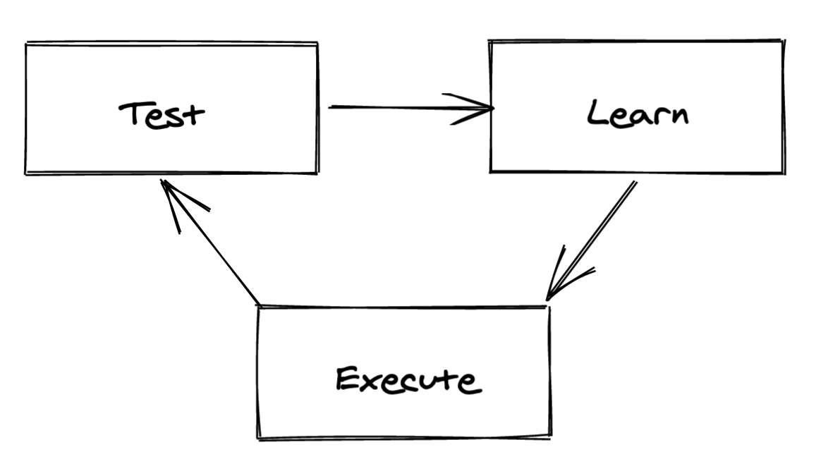 Diagram: text, learn, execute, repeat.